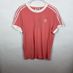 NWT Woman's Adidas 3 Stripes Tee Pink Size S